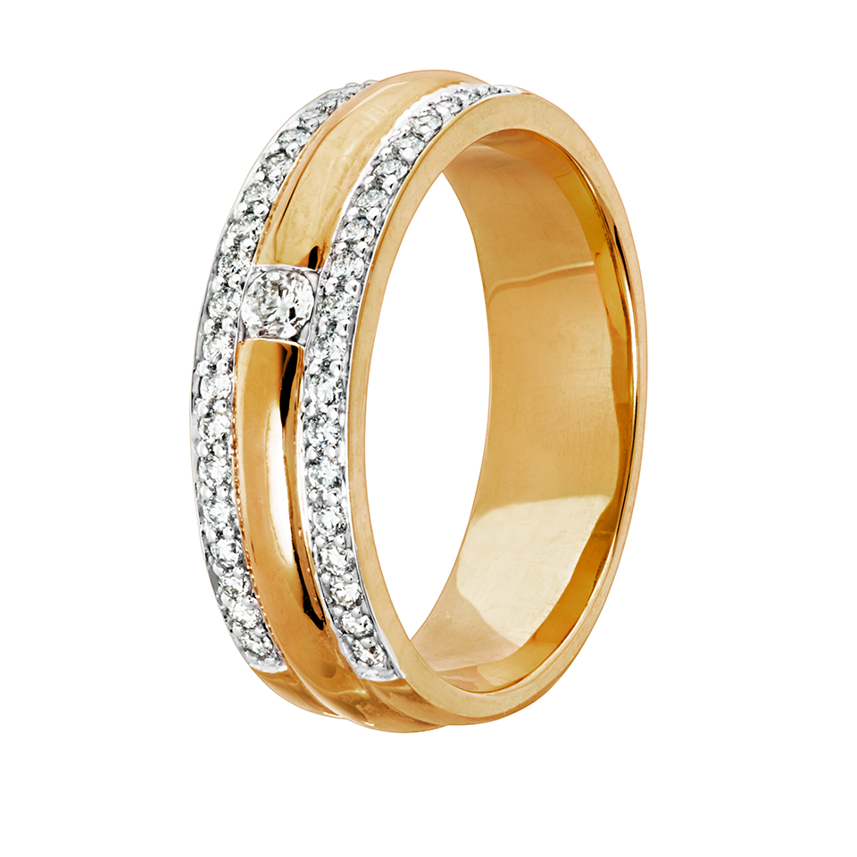 Diamantring i 18K guld, 16.0