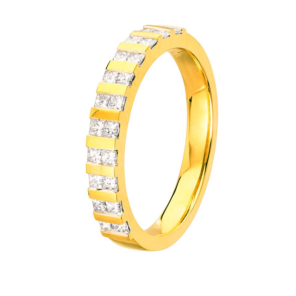 Diamantring i 18K guld, 19.5