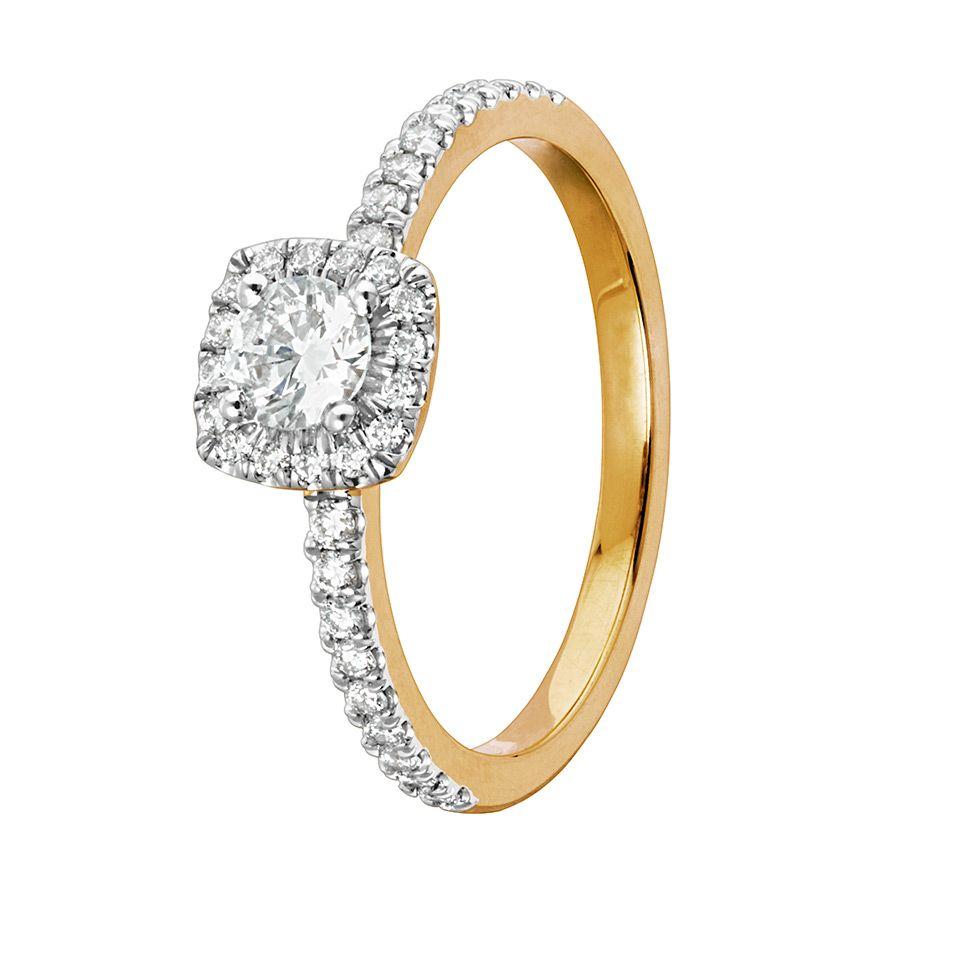 Diamantring i 18K guld, 19.0